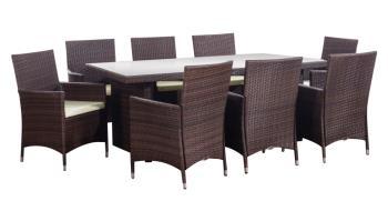 Ratanový set Menibor stôl + 8 kresiel